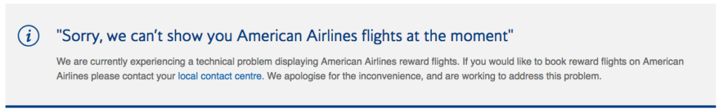 british airways american avios issues