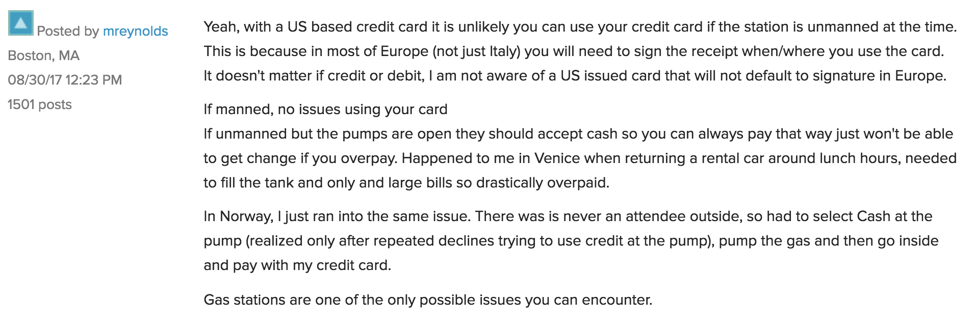 My Experience Using Credit Cards to Buy Gas in Europe